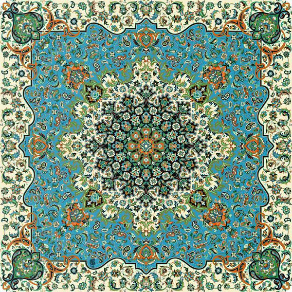 رومیزی مربع ترمه طرح فرحزاد کد 640