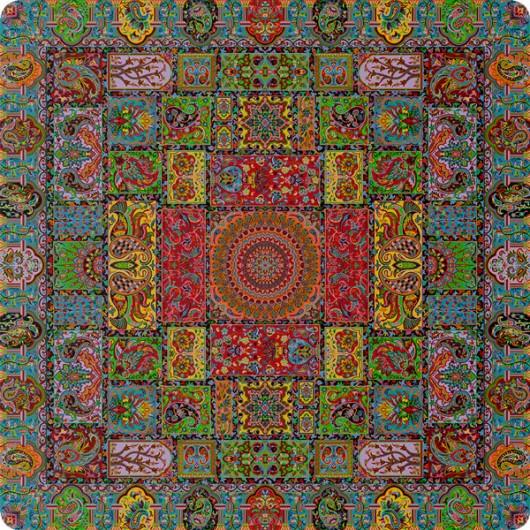 رومیزی مربع ترمه طرح وصال کد 1010